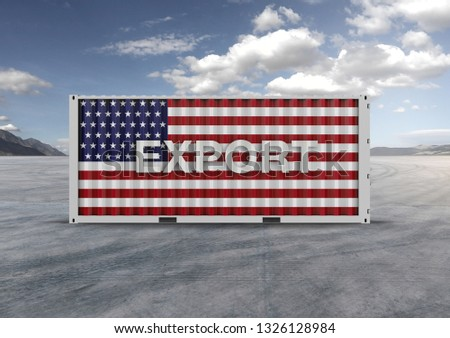 A container, for export and import in isolated background, 3D rendering, a key element in globalization, reduces freight costs and speeds up logistics. Used by the 10 largest importers and exporters. #1326128984