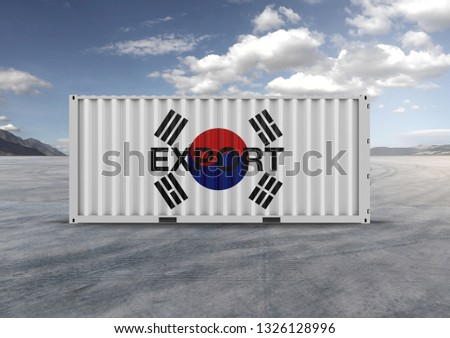 A container, for export and import in isolated background, 3D rendering, a key element in globalization, reduces freight costs and speeds up logistics. Used by the 10 largest importers and exporters. #1326128996