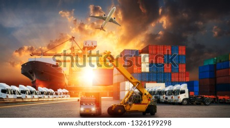 Logistics and transportation of Container Cargo ship and Cargo plane with working crane bridge in shipyard at sunrise, logistic import export and transport industry background #1326199298