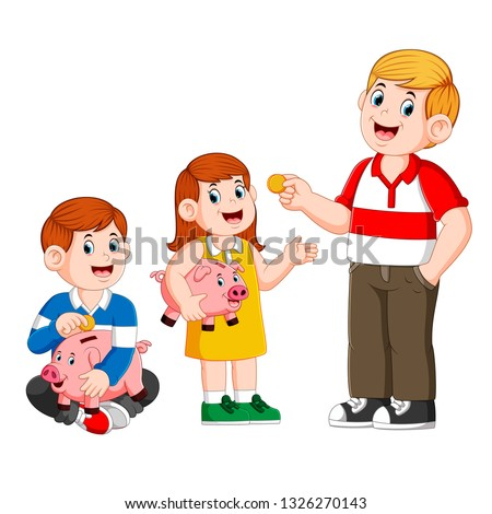 Father give money to his child and the child holding piggy bank
