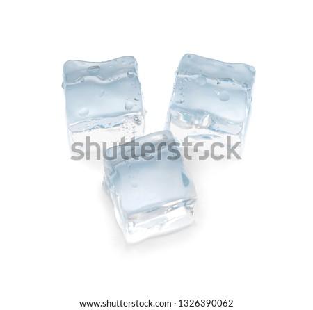 Ice cubes on white background #1326390062