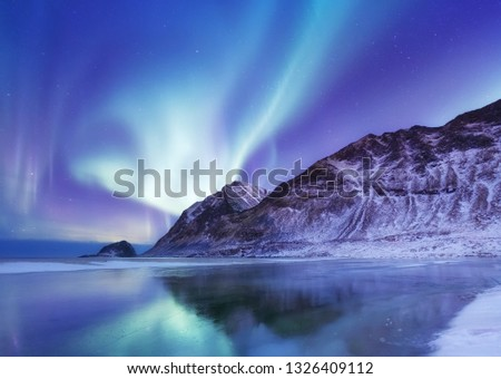 Aurora borealis on the Lofoten islands, Norway. Green northern lights above mountains. Night winter landscape with aurora and reflection on the water surface. Norway-image #1326409112