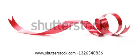 Red ribbon isolated on white background and texture #1326540836