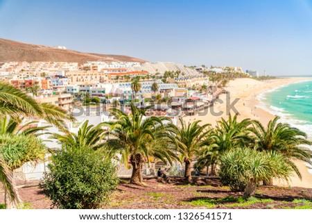 Beautiful, wide sandy beach in Morro Jable, Jandia Penninsula on Fuerteventura, Spain #1326541571