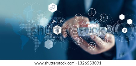 Businessman using mobile online banking and payment, Digital marketing. Finance and banking networking. Online shopping and icon customer network connection, cyber security. Business technology. Royalty-Free Stock Photo #1326553091
