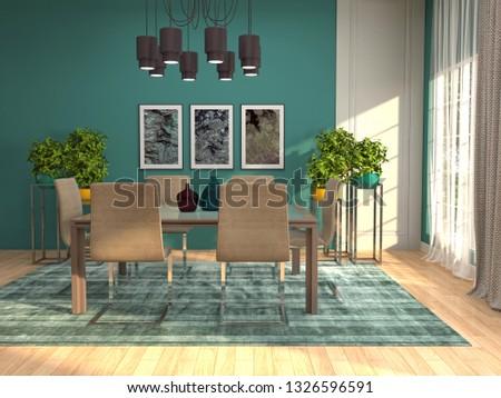 Interior dining area. 3d illustration #1326596591