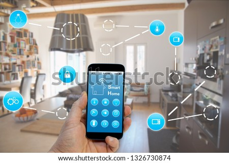 Smart Home concept, Hand holding smartphone with smart home application on screen #1326730874