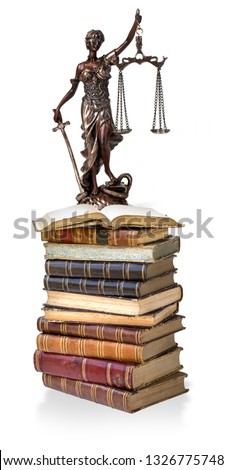 A picture of a Themis statue standing at books  on white background