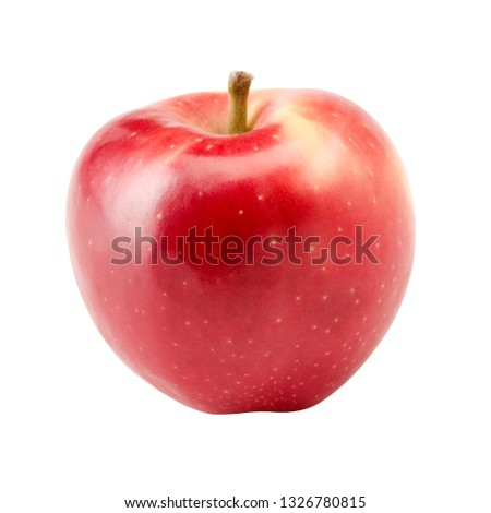 Single Red Apple Isolated On White Background CloseUp #1326780815