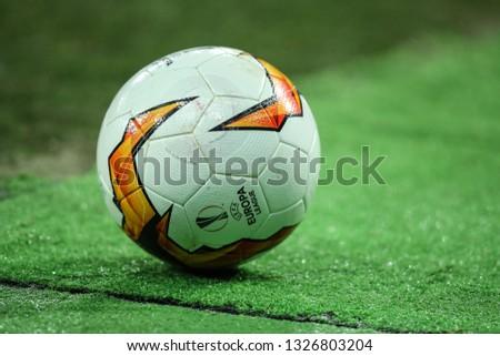 KYIV, UKRAINE - FEBRUARY 21, 2019: Molten football ball. Official Match Ball of the UEFA Europa League close-up view. Dynamo Kyiv - Olympiacos Piraeus #1326803204