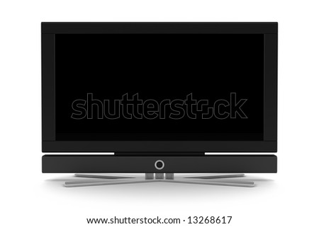 lcd tv with blank screen isolated on white #13268617