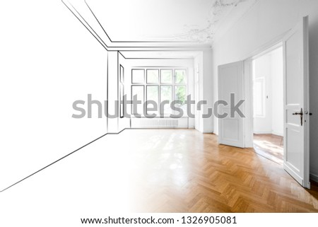 drawing and photo of empty apartment room merged - interior design concept