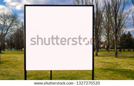 Large City Park White Blank Advertisement Banner Billboard Sign Mock Up With Wooden Frame.Isolated Template Clipping Path