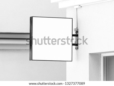 Blank black and white hanging wall sign mockup, square modern style outdoor signage with copy space, company sign to add logo or text