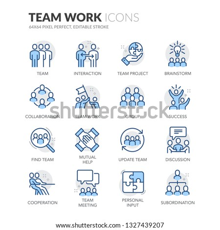 Simple Set of Team Work Related Vector Line Icons. Contains such Icons as Cooperation, Collaboration, Team Meeting and more. Editable Stroke. 64x64 Pixel Perfect. #1327439207