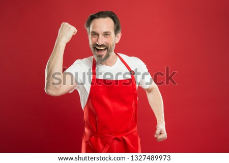 Multitasking is chefs game. Cook with beard and mustache red background. Man mature cook posing cooking apron. Fine recipe. Ideas and tips. Chief cook and professional culinary. Cook food at home. #1327489973