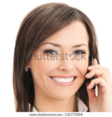 Happy smiling successful businesswoman with cell phone, isolated on white background #132775898