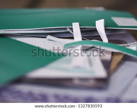 Envelopes from credit cards on a blurred background,selection focus only some point on image #1327830593