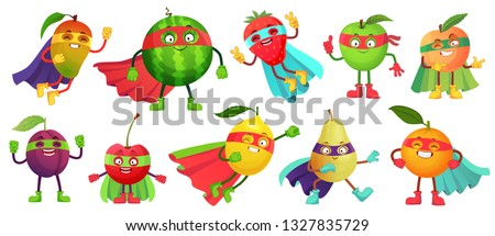 Superhero fruit. Super apple, berry and orange in hero cloak costume. Garden superheroes healthy food. Fruit hero characters, fresh fruits cartoon vector illustration isolated icons set #1327835729