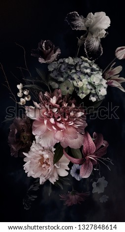 Peonies, hydrangea, lily, iris and tulips in bloom. Vintage bouquet of beautiful garden flowers on black. Floristic decoration. Floral background. Baroque style. #1327848614
