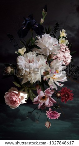 White peonies, roses and other flowers in bloom. Bouquet of beautiful garden flowers on black. Floral decoration. Vintage background. Baroque style. #1327848617