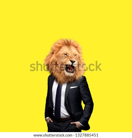Contemporary art college, man in the form of a lion  Royalty-Free Stock Photo #1327885451