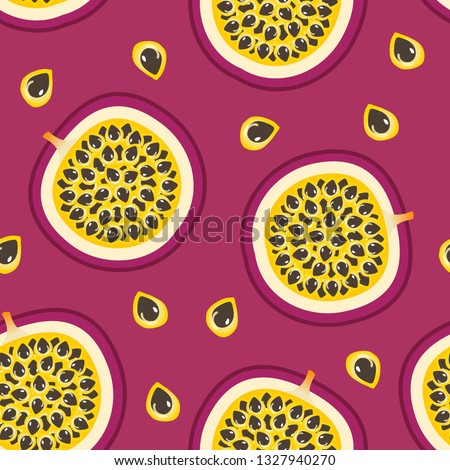 Vector Seamless pattern with Passion Fruit and Purple background. #1327940270
