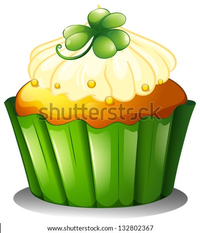 Illustration of a delicious cupcake for St. Patrick's day on a white background