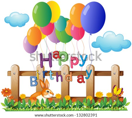 Illustration of a happy birthday greeting with balloons on a white background