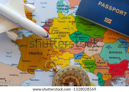 Tourist map of europe with boeing and compass for travel. #1328028569