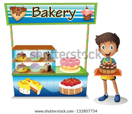 Illustration of a boy selling cakes on a white background