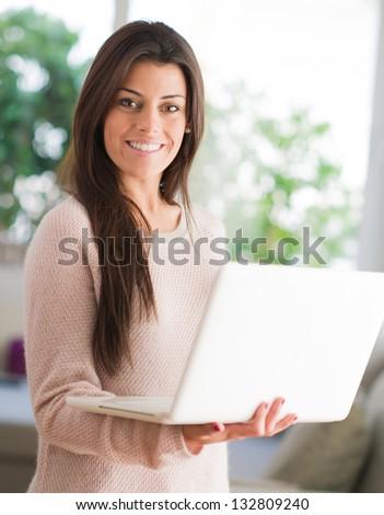 Happy Woman Holding Laptop, Indoors #132809240