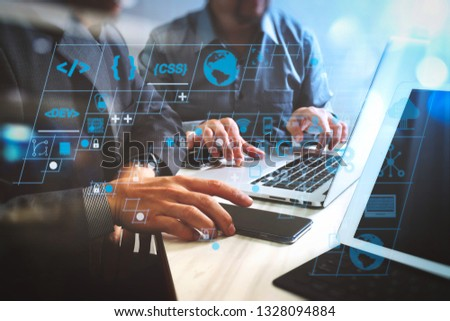 Coding software developer work with AR new design dashboard computer icons of scrum agile development and code fork and versioning with responsive cybersecurity.Business team meeting.  #1328094884