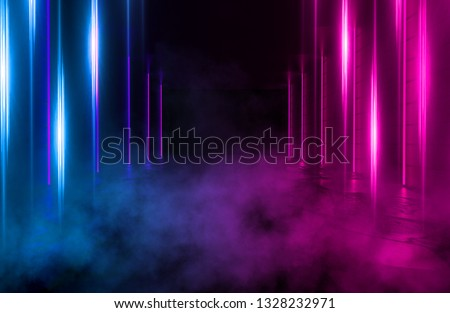 Background of an empty room with brick walls and neon lights, laser lines and multi-colored smoke #1328232971