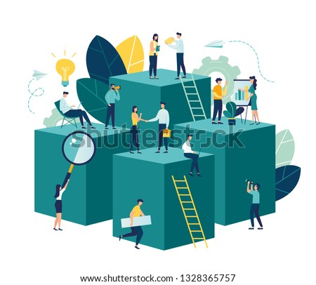 Vector illustration, virtual business assistant. teamwork on performance, brainstorming, card investment management. investing money in a project - vector - vector Royalty-Free Stock Photo #1328365757