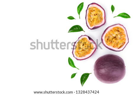 passion fruits with leaves isolated on white background with copy space for your text. Isolated maracuya. Top view. Flat lay #1328437424