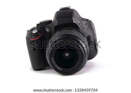modern digital SLR photo camera with lens on white background. isolated. #1328439704