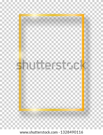 Vector golden shiny vintage square frame isolated on transparent background. Luxury glowing realistic border #1328490116