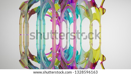 Abstract white and colored smooth gradient glasses gothic interior. 3D illustration and rendering. #1328596163