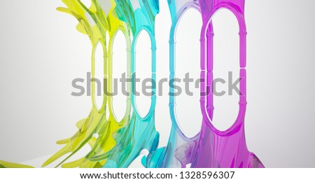 Abstract white and colored smooth gradient glasses gothic interior. 3D illustration and rendering. #1328596307