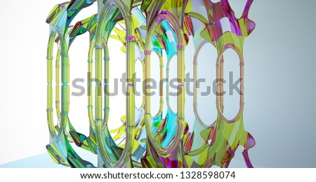 Abstract white and colored gradient smooth glasses gothic interior. 3D illustration and rendering. #1328598074