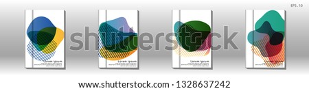 Cover design of the book is arranged with colorful gradients that are liquid and transparent. Creative illustrations for posters, web, landings, pages, covers, advertisements, and others #1328637242