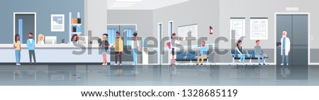 mix race patients standing line queue at hospital reception desk waiting hall doctors consultation healthcare concept medical clinic interior full length horizontal banner flat vector illustration #1328685119