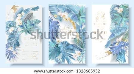 Vector vertical wedding invitation card set with light blue tropical leaves and orchid flowers. Save the date and R.S.V.P. botany design for wedding ceremony. Can be used for cosmetics, beauty salon #1328685932