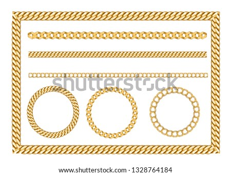 Golden chain set with belts gold and silver for fabric design, wallpapers, prints. Isolated vector illustration metallic accessories. #1328764184