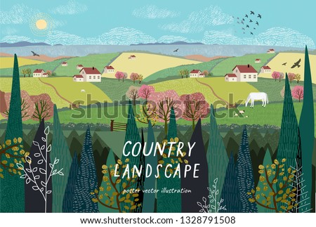 Vector illustration of a rural landscape or farm with houses, pets, trees and grass. Freehand drawing of a sunny summer day in the village.  Royalty-Free Stock Photo #1328791508