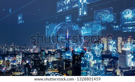 Smart city and communication network concept. GUI (Graphical User Interface). IoT (Internet of Things).