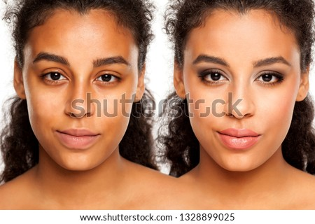 Comparision portrait of young dark-skinned woman without, and with makeup on a white background #1328899025