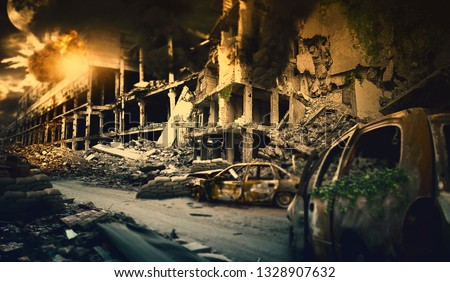 Nuclear post apocalypse survivors concept Royalty-Free Stock Photo #1328907632