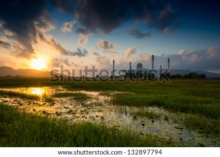 Power of Sunrise over Central Mosque Songkhla,Thailand #132897794